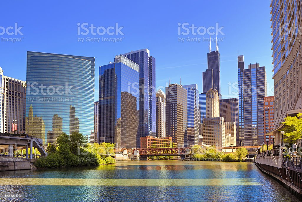 Chicago River and cityscape stock photo