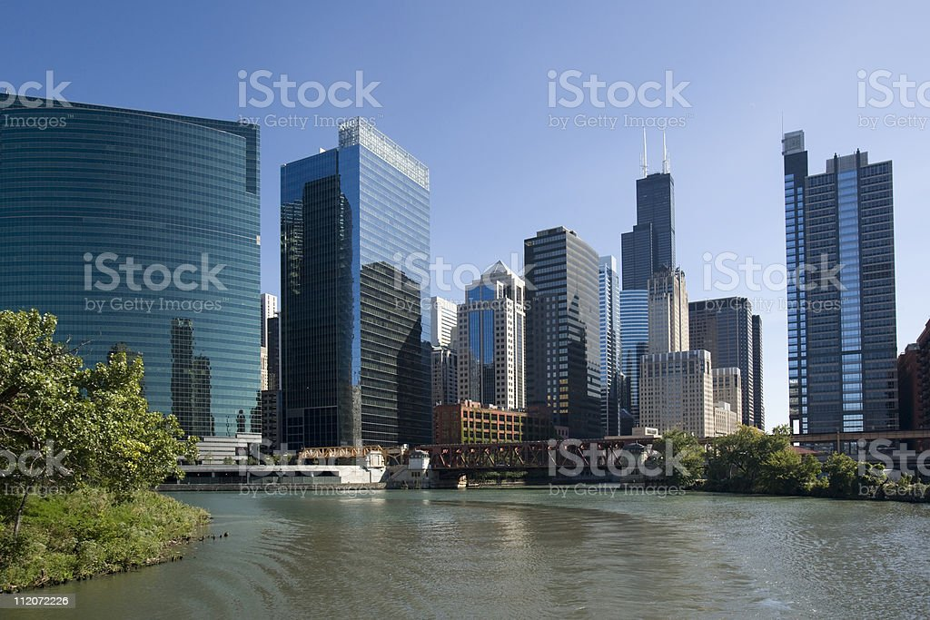 Chicago river and high rise buildings. royalty-free stock photo
