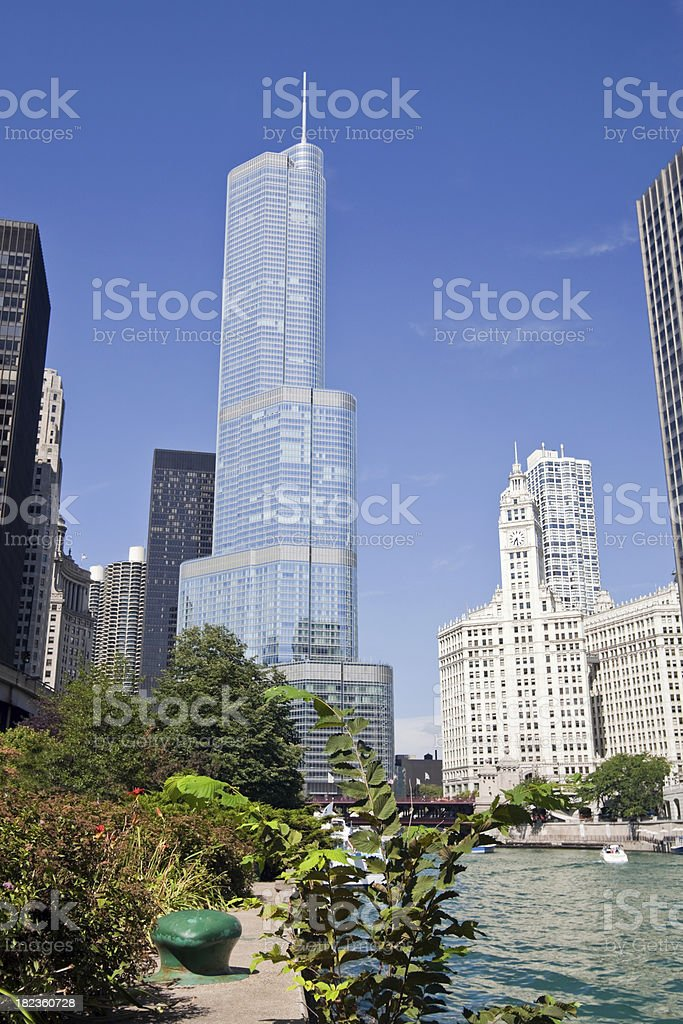 Chicago River and Landmark Buildings royalty-free stock photo