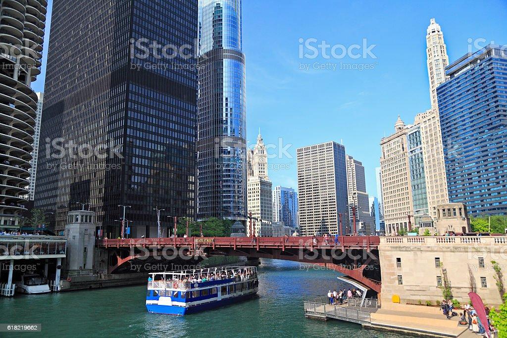 Chicago River and skyline, Illinois, USA stock photo