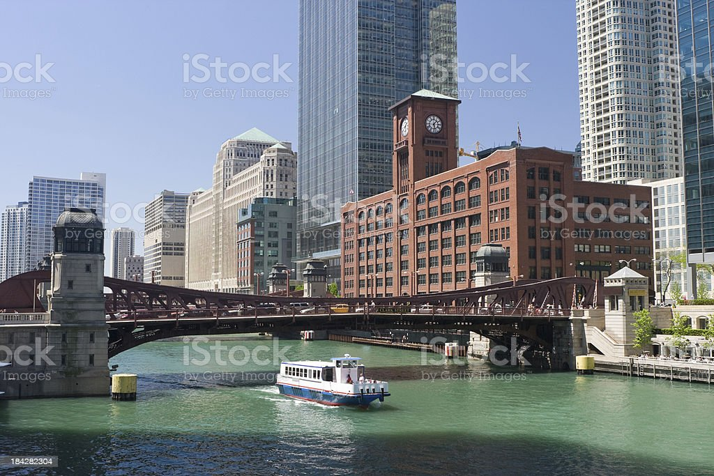 Chicago River and Tour Boat royalty-free stock photo