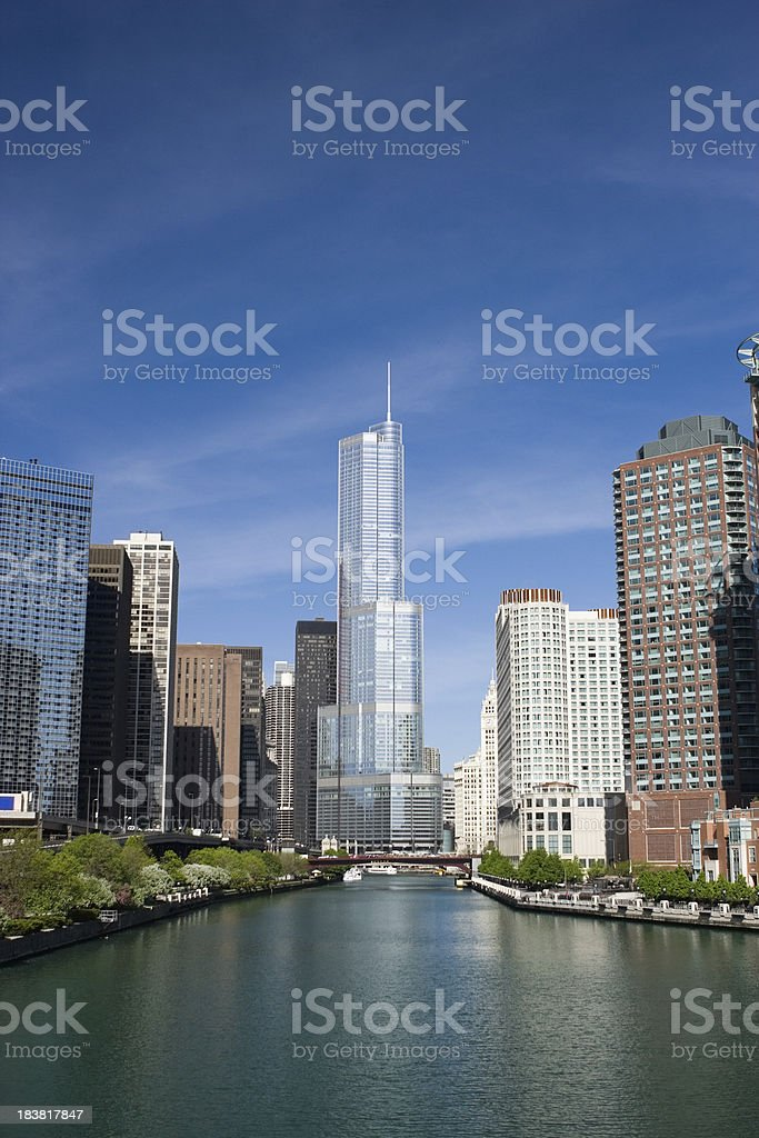 Chicago River and Trump International Hotel stock photo