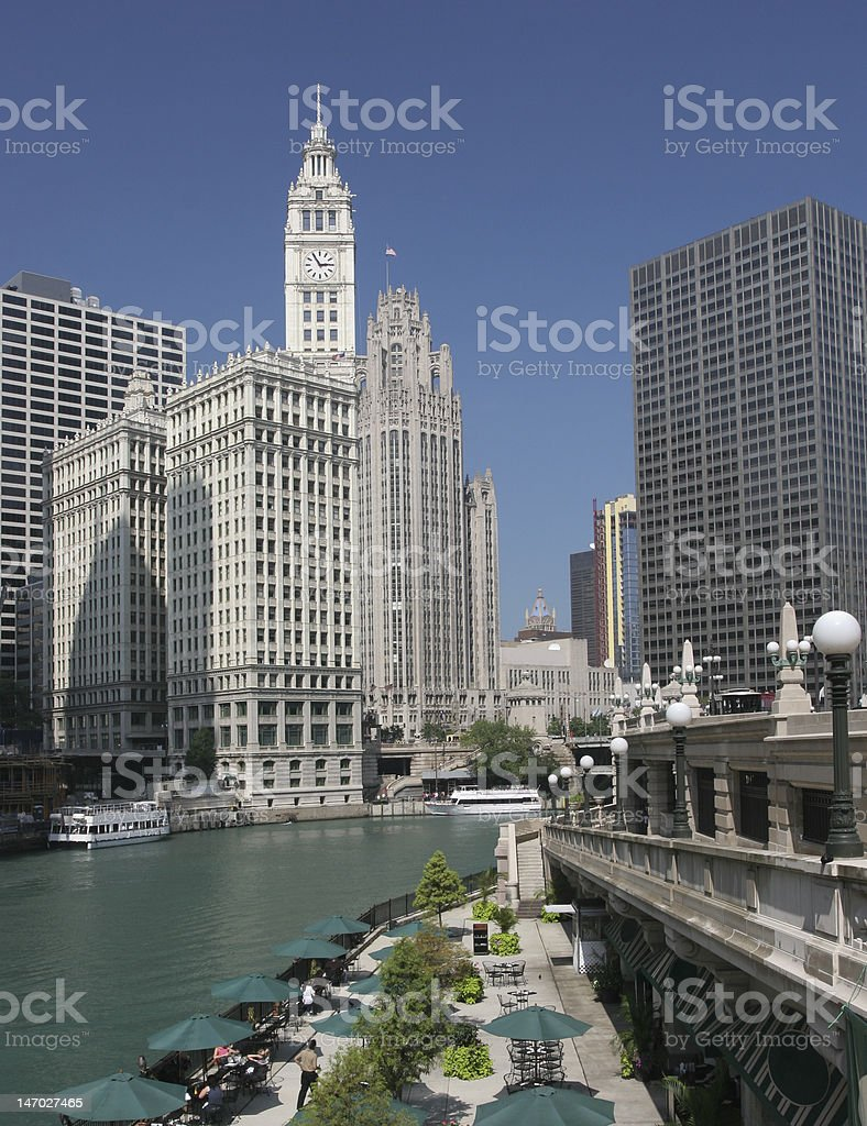 Chicago River and Wrigley Building royalty-free stock photo