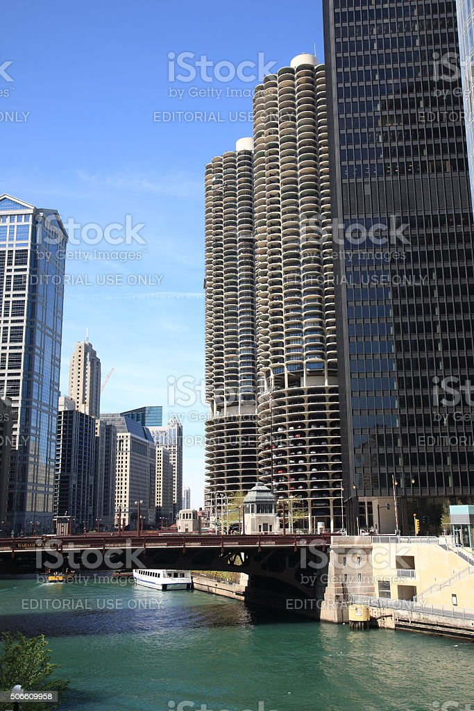 Chicago River Bridge stock photo
