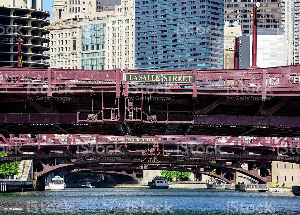Chicago River bridges in The Loop stock photo