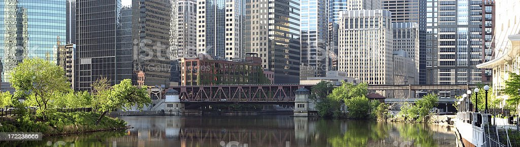 Chicago River Downtown District Cityscape Panorama royalty-free stock photo