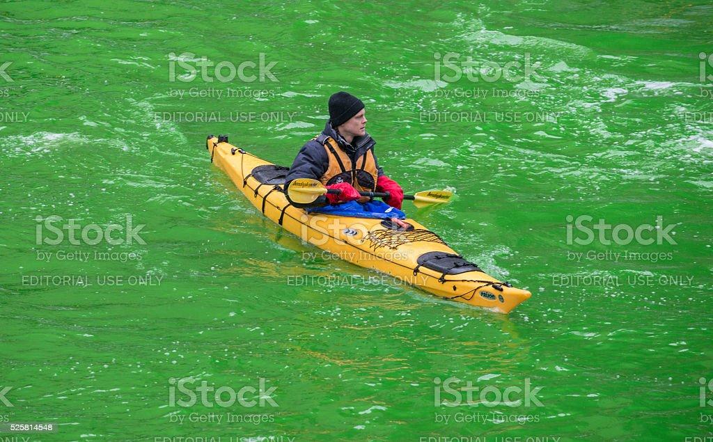 シカゴ川の染色緑色 ロイヤリティフリーストックフォト