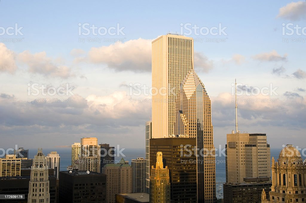 Chicago River East Aerial at Sunset stock photo