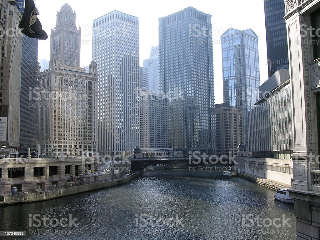 Chicago River from Michigan Ave stock photo