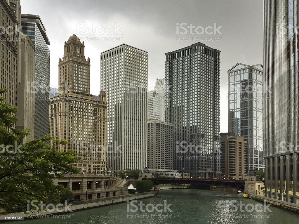 Chicago River from Michigan Avenue royalty-free stock photo