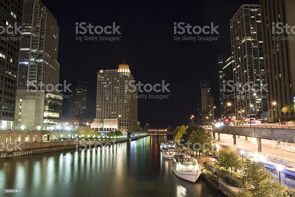 Chicago river in the night stock photo