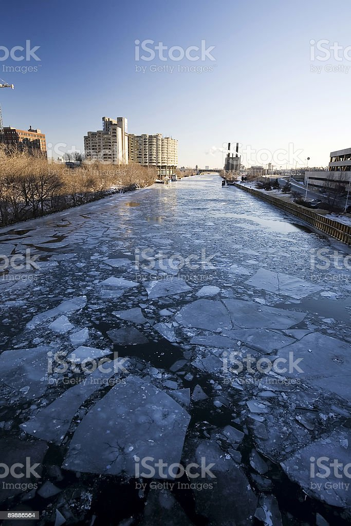 Chicago River in Winter royalty-free stock photo