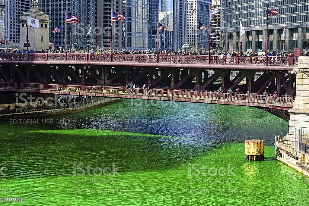 Chicago River on Saint Patricks Day, 2014 stock photo