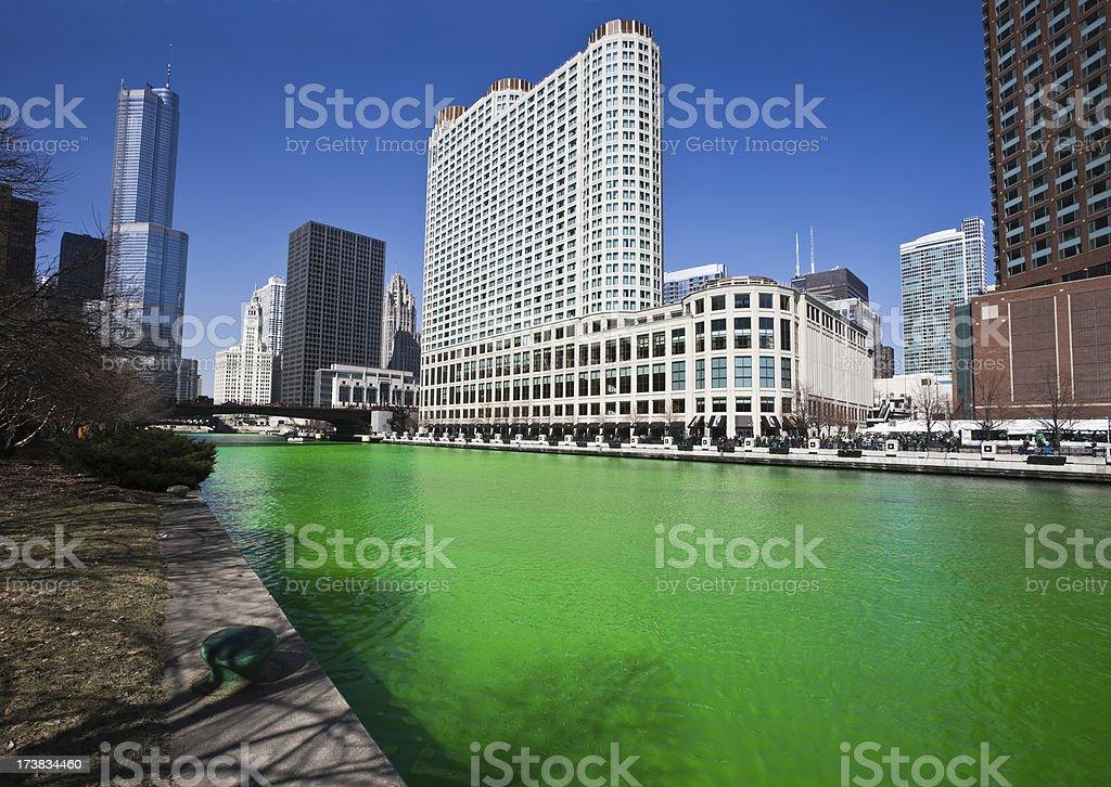 Chicago River on Saint Patricks Day stock photo