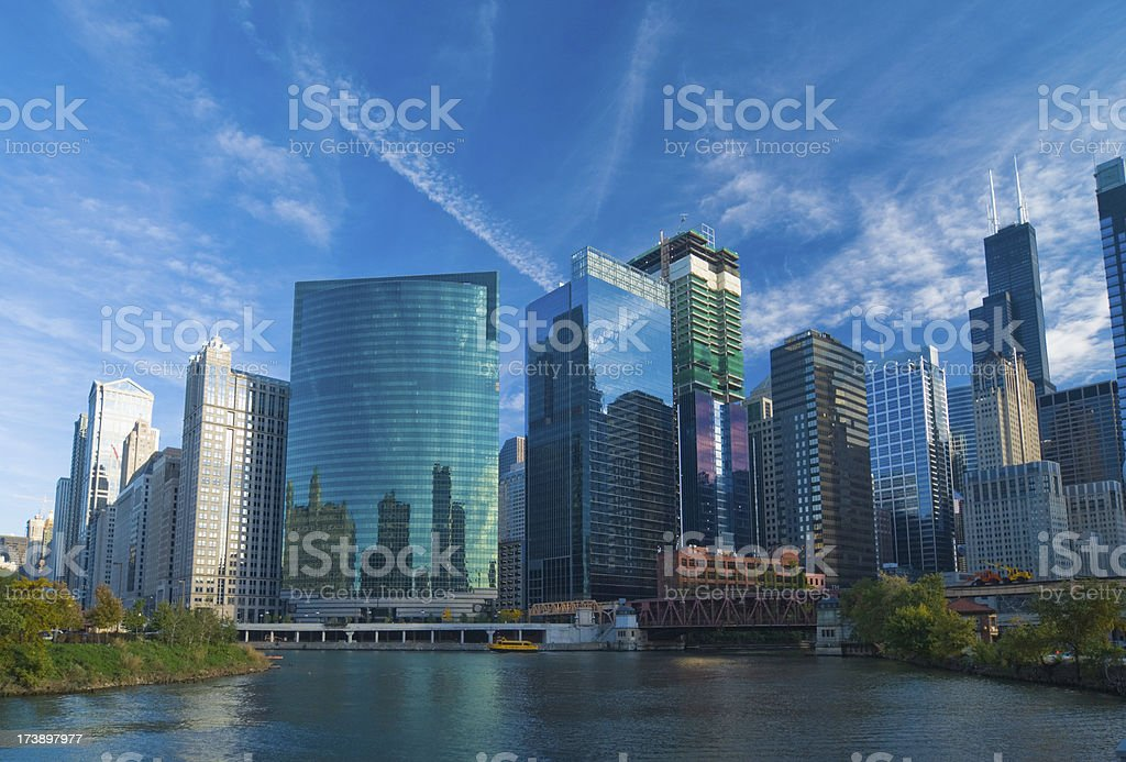 Chicago River skyline royalty-free stock photo