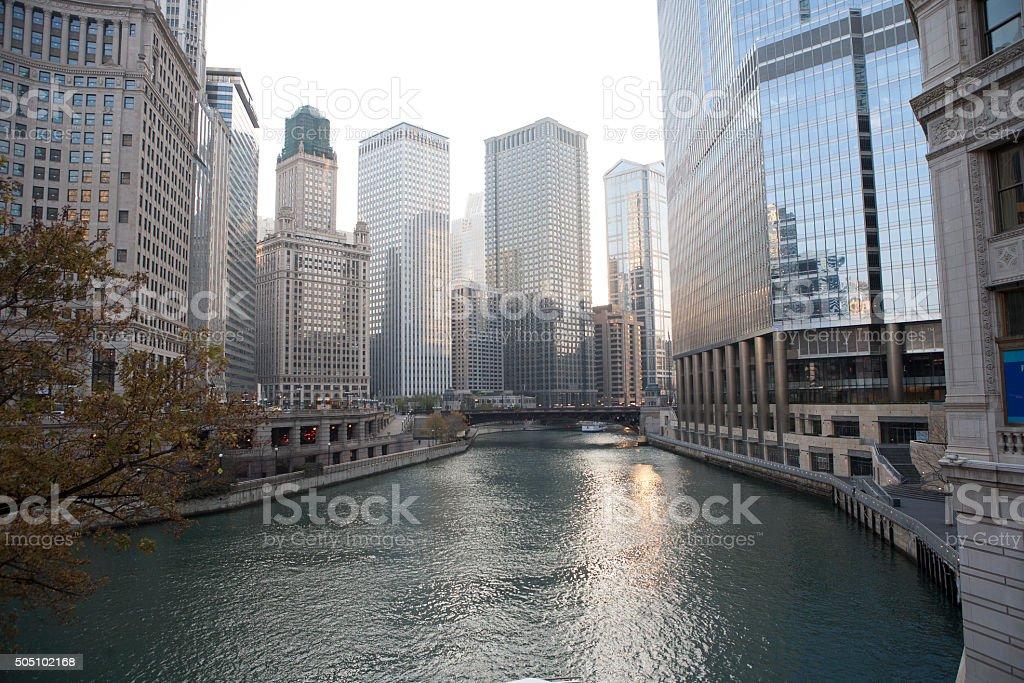 Chicago river skyline stock photo