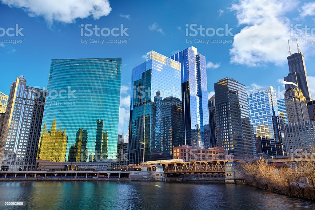 Chicago River skyline stock photo