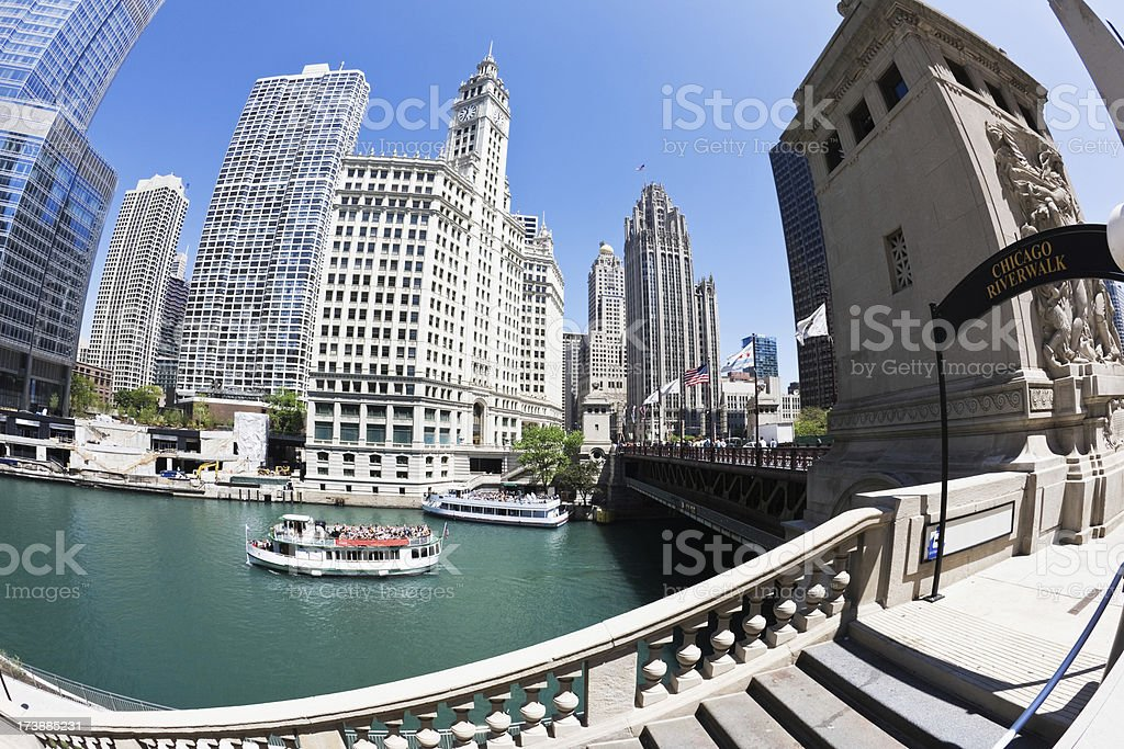 Chicago River  Tour Boats and Landmarks royalty-free stock photo