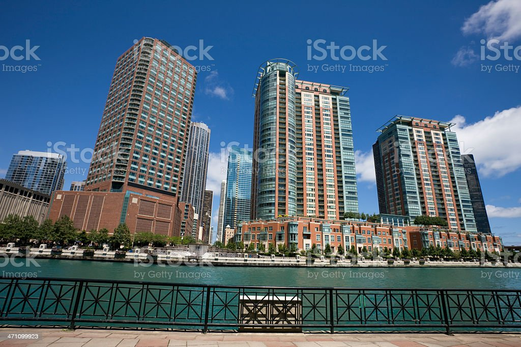 Chicago River View Apartments stock photo