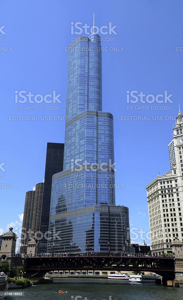 Chicago river view, with bridge Trump International Hotel and T stock photo