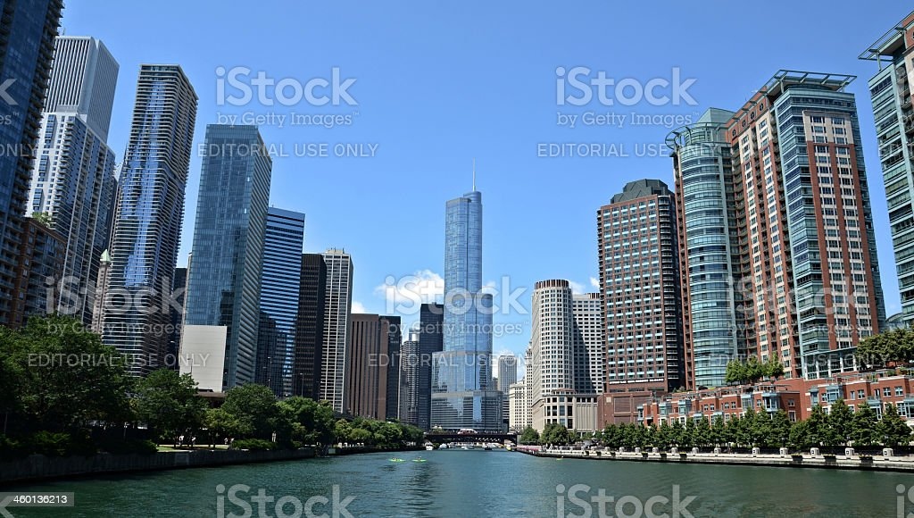 Chicago river view, with Trump International Hotel and Tower stock photo