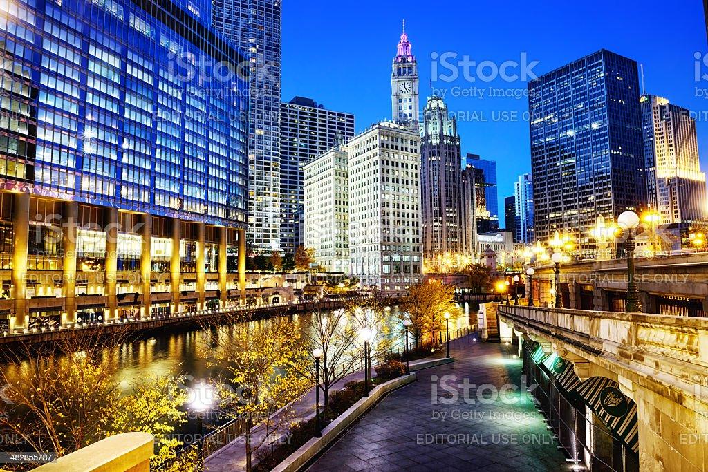 Chicago River Walk at Dusk royalty-free stock photo