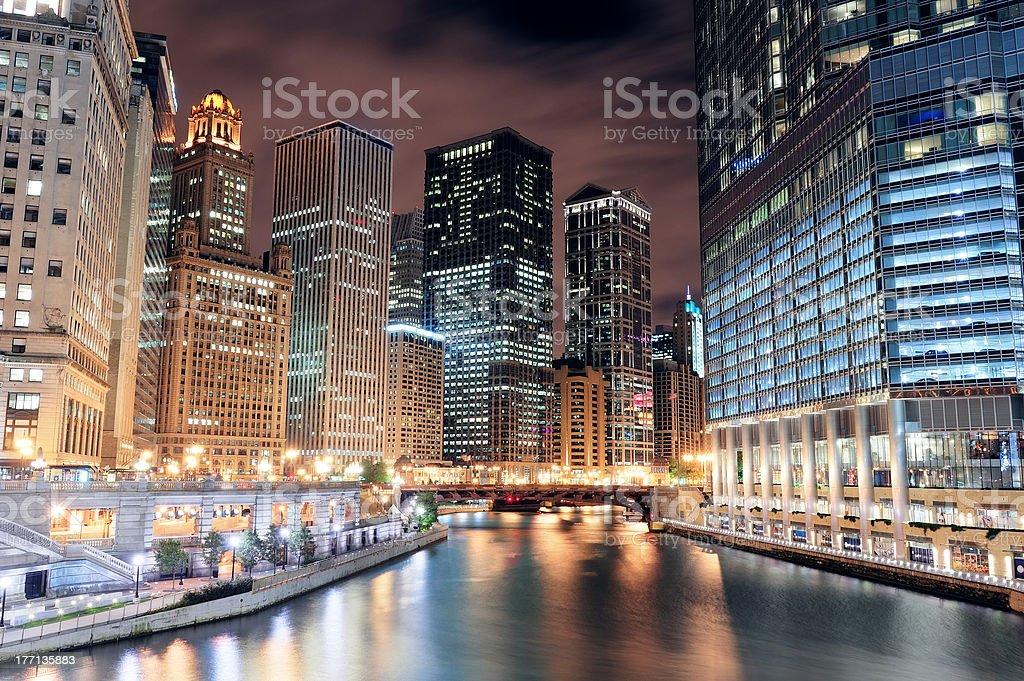 Chicago River Walk stock photo