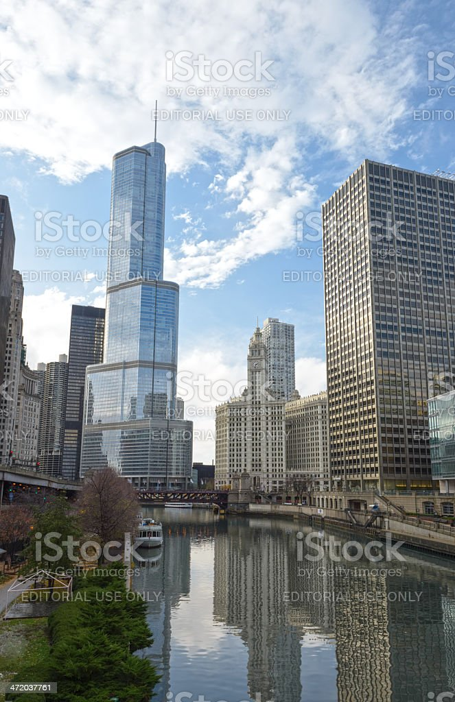 Chicago River with Trump International and Wrigley Building stock photo