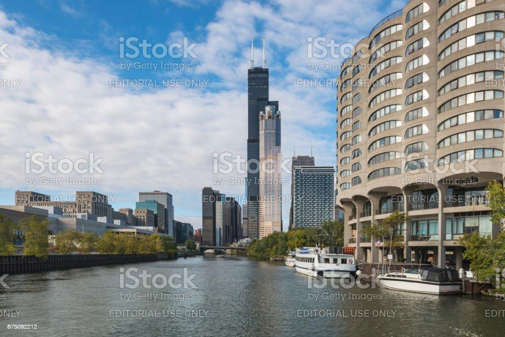 Chicago Riverfront Architecture stock photo