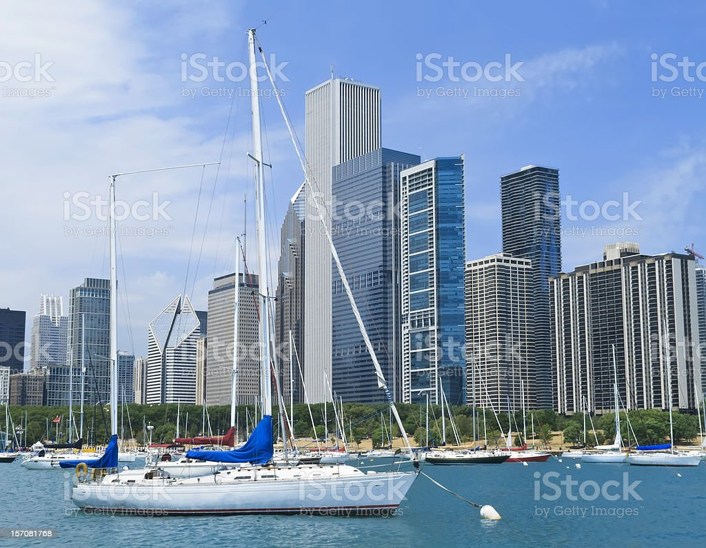 Chicago scenic over water and land stock photo