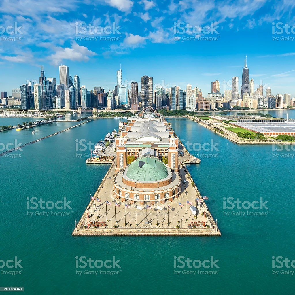 Chicago Skyline aerial view famous Pier stock photo