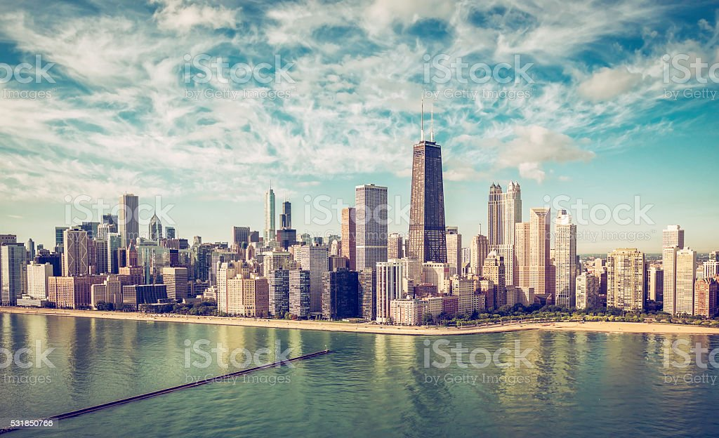 Chicago Skyline aerial view skyscrapers stock photo