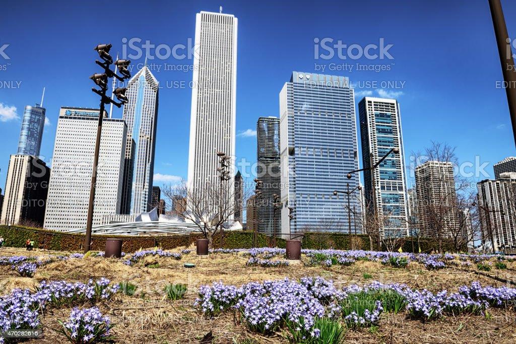 Chicago Skyline along East Randolph Street, Springtime stock photo