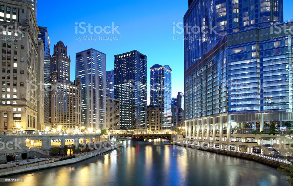 Chicago skyline along the river stock photo