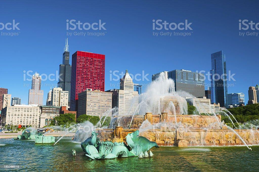 Chicago skyline and Buckingham Fountain royalty-free stock photo