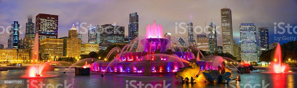 Chicago skyline and Buckingham Fountain stock photo