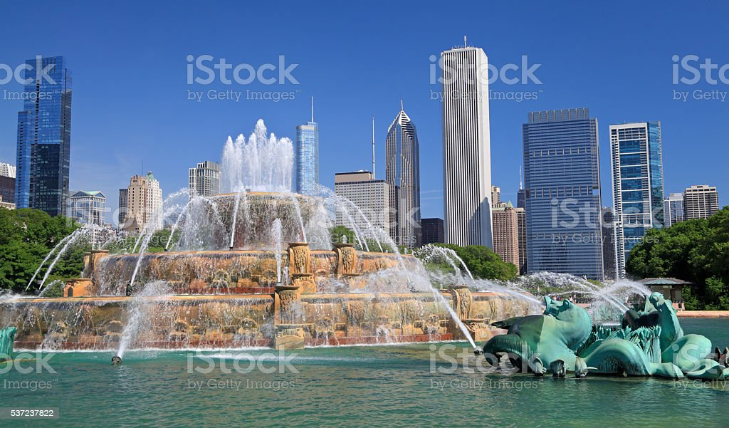 Chicago skyline and Buckingham Fountain stock photo