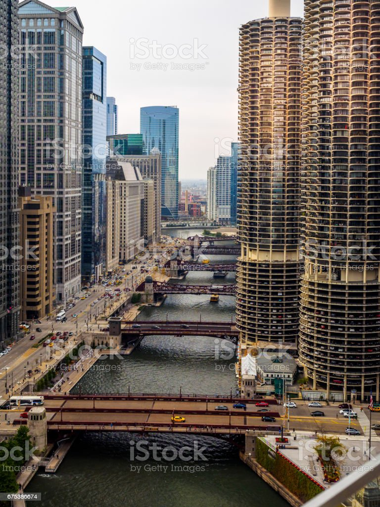 Chicago Skyline and Chicago River stock photo
