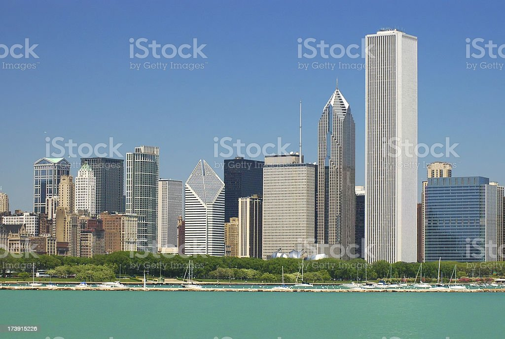 Chicago skyline and Grant Park stock photo