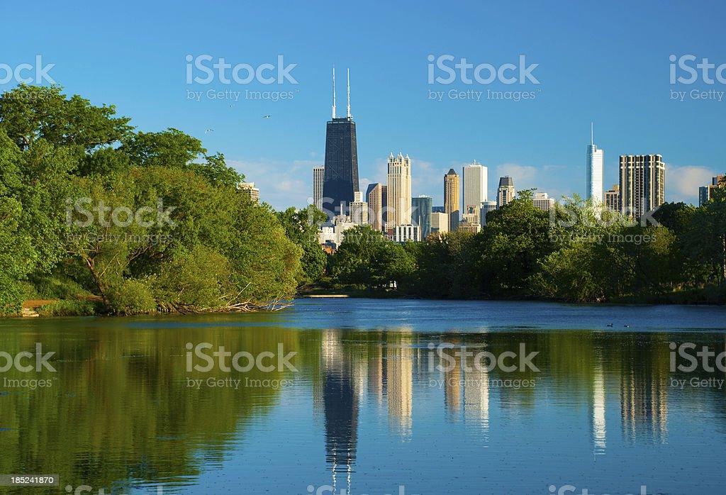 Chicago skyline and Pond stock photo