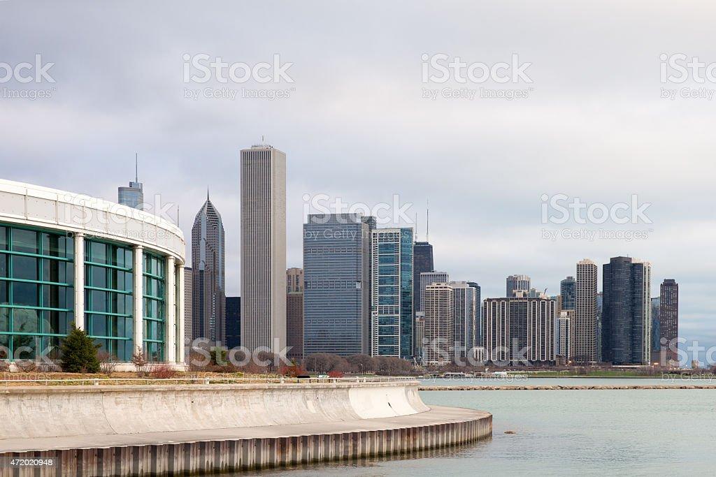 Chicago Skyline and Shedd Aquarium stock photo