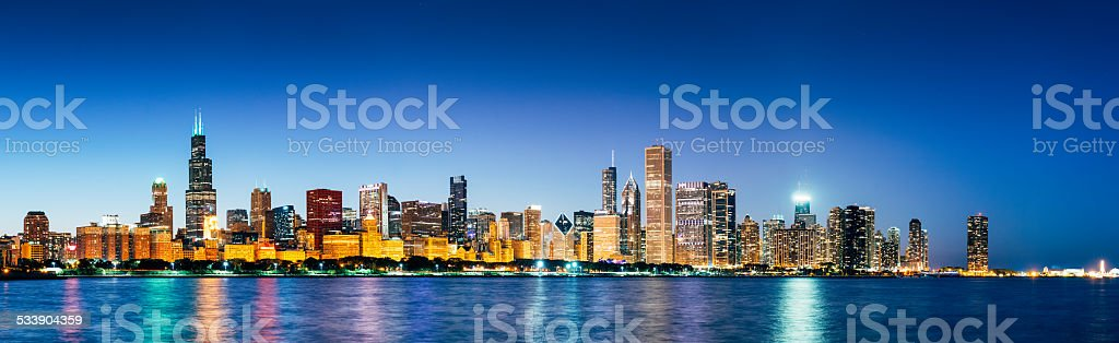 Chicago Skyline at dusk from Lake Michigan Panoramic image stock photo