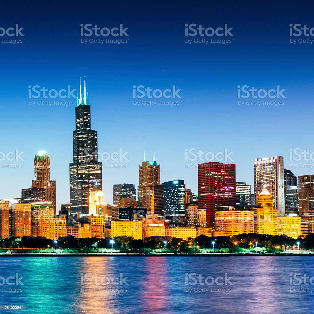 Chicago Skyline at dusk from Lake Michigan stock photo