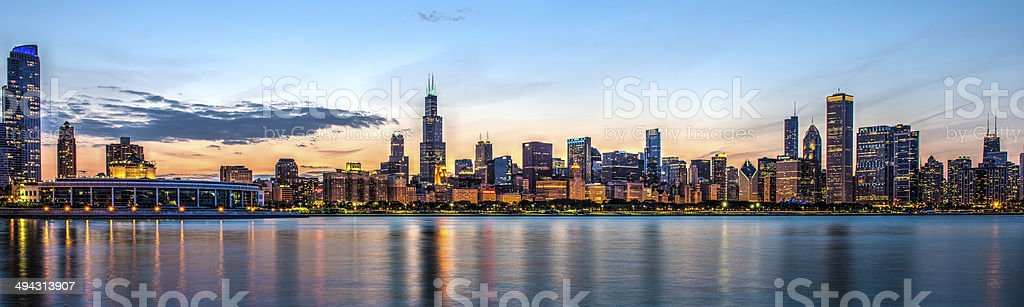 Chicago Skyline at dusk HDR stock photo