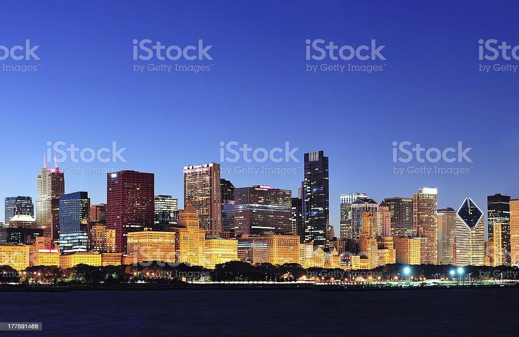 Chicago skyline at dusk royalty-free stock photo