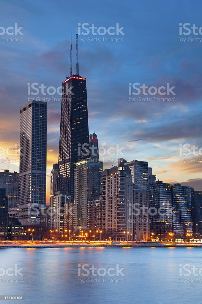 Chicago skyline at dusk with blue water royalty-free stock photo