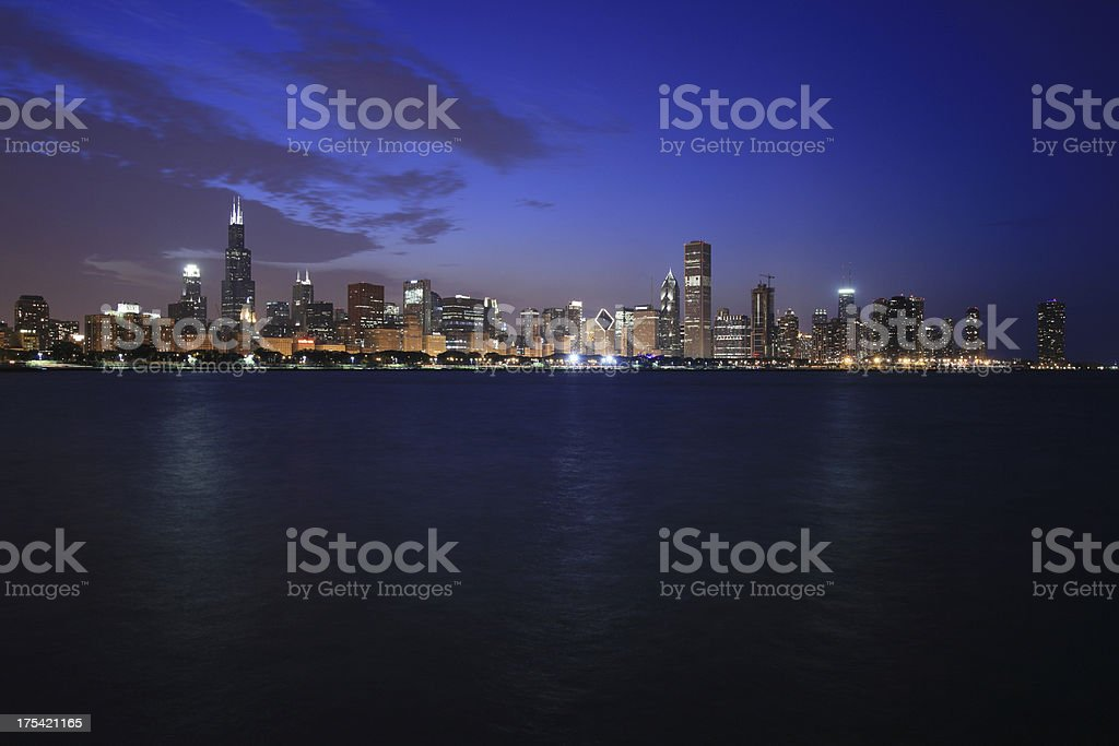Chicago Skyline at Night royalty-free stock photo