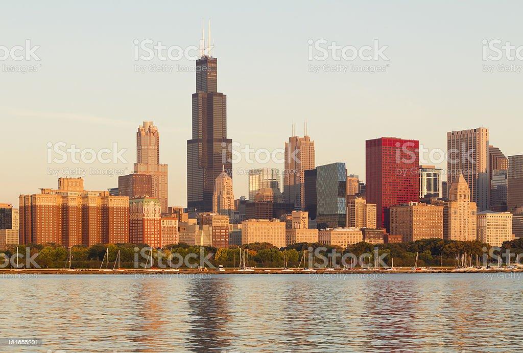 Chicago Skyline at Sunrise stock photo