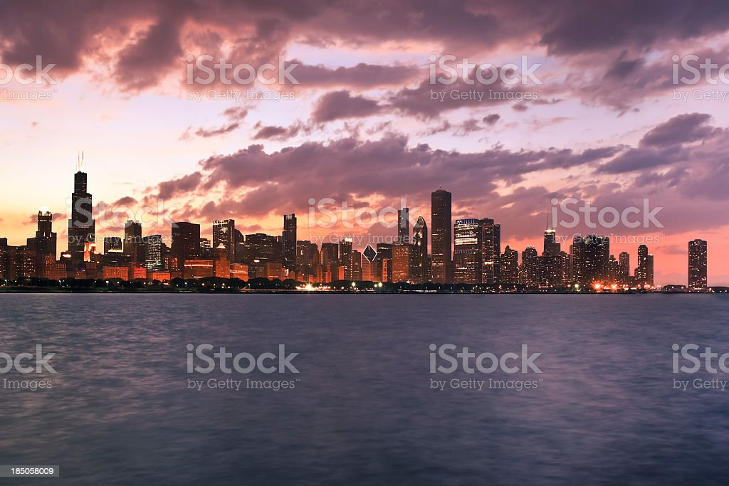 Chicago skyline at sunset royalty-free stock photo