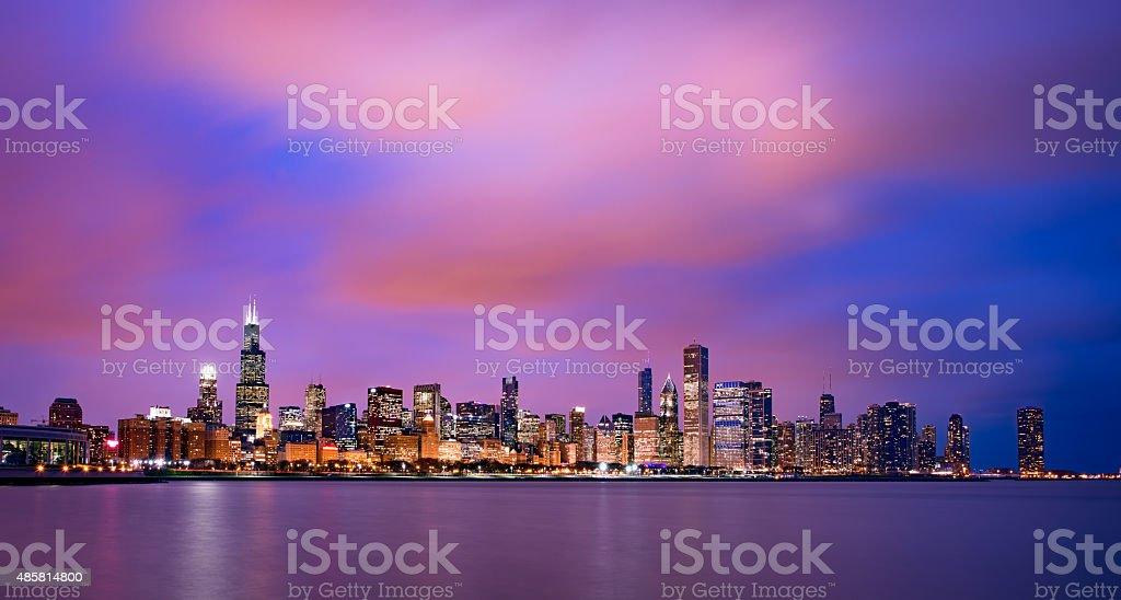 Chicago skyline at sunset stock photo
